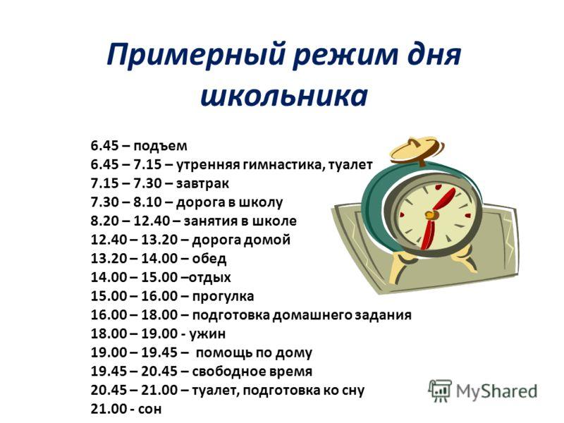 Примерный режим дня школьника 6.45 – подъем 6.45 – 7.15 – утренняя гимнастика, туалет 7.15 – 7.30 – завтрак 7.30 – 8.10 – дорога в школу 8.20 – 12.40 – занятия в школе 12.40 – 13.20 – дорога домой 13.20 – 14.00 – обед 14.00 – 15.00 –отдых 15.00 – 16.