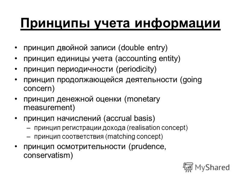 Принципы учета информации принцип двойной записи (double entry) принцип единицы учета (accounting entity) принцип периодичности (periodicity) принцип продолжающейся деятельности (going concern) принцип денежной оценки (monetary measurement) принцип н