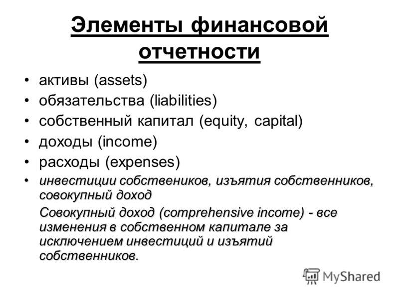 Элементы финансовой отчетности активы (assets) обязательства (liabilities) собственный капитал (equity, capital) доходы (income) расходы (expenses) инвестиции собствеников, изъятия собственников, совокупный доходинвестиции собствеников, изъятия собст