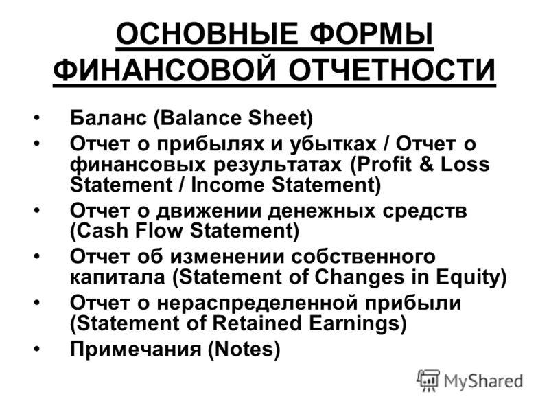 ОСНОВНЫЕ ФОРМЫ ФИНАНСОВОЙ ОТЧЕТНОСТИ Баланс (Balance Sheet) Отчет о прибылях и убытках / Отчет о финансовых результатах (Profit & Loss Statement / Income Statement) Отчет о движении денежных средств (Cash Flow Statement) Отчет об изменении собственно