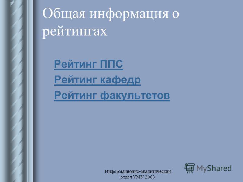 Информационно-аналитический отдел УМУ 2003 Общая информация о рейтингах Рейтинг ППС Рейтинг кафедр Рейтинг факультетов