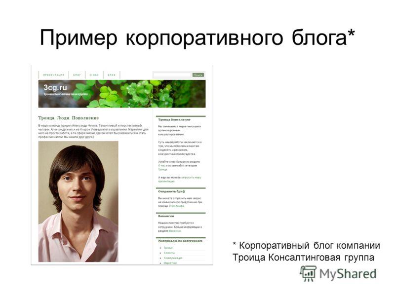 Пример корпоративного блога* * Корпоративный блог компании Троица Консалтинговая группа