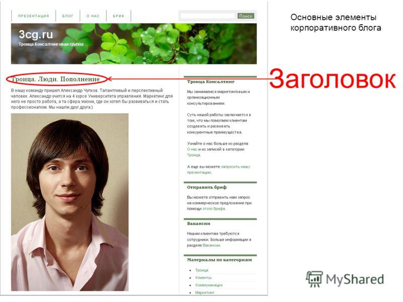 Заголовок Основные элементы корпоративного блога