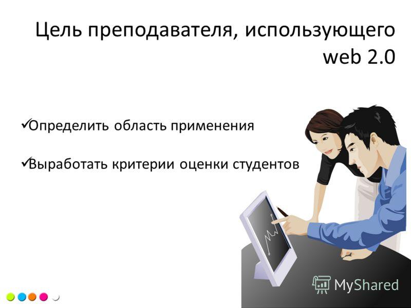 Цель курса Цель преподавателя, использующего web 2.0 Определить область применения Выработать критерии оценки студентов