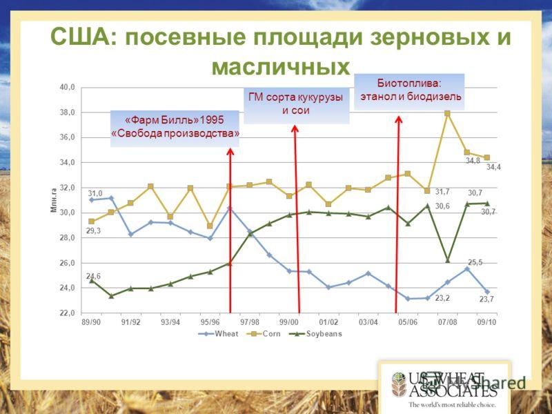 США: посевные площади зерновых и масличных