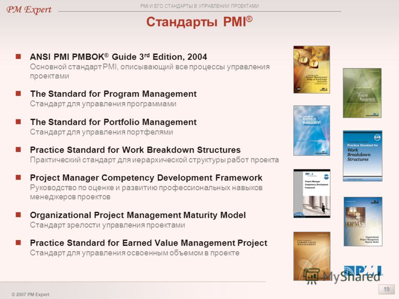 © 2007 PM Expert 19 Стандарты PMI ® ANSI PMI PMBOK ® Guide 3 rd Edition, 2004 Основной стандарт PMI, описывающий все процессы управления проектами The Standard for Program Management Стандарт для управления программами The Standard for Portfolio Mana