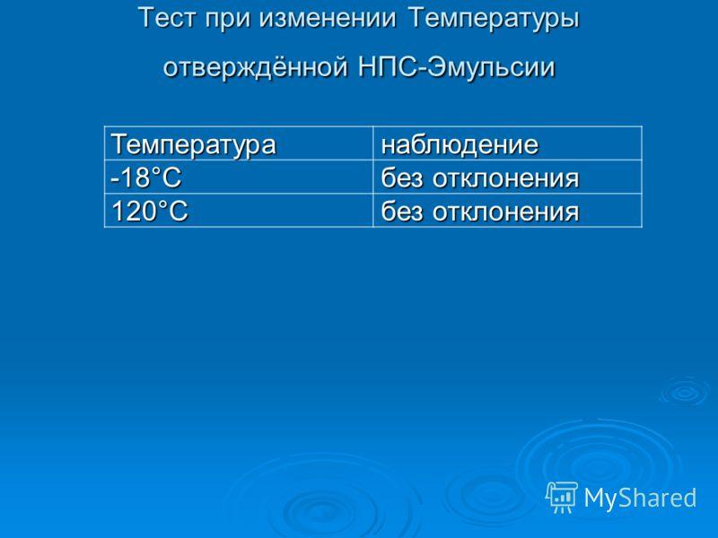 Тест при изменении Температуры отверждённой НПС-Эмульсии Температура наблюдение наблюдение-18°C без отклонения без отклонения 120°C