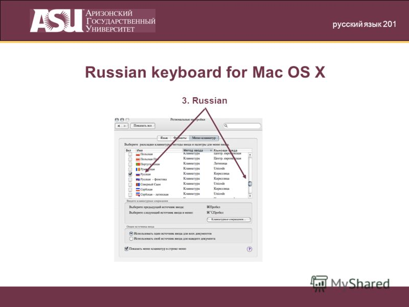 русский язык 201 Russian keyboard for Mac OS X 3. Russian