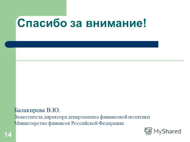 14 Спасибо за внимание! Балакирева В.Ю. Заместитель директора департамента финансовой политики Министерство финансов Российской Федерации