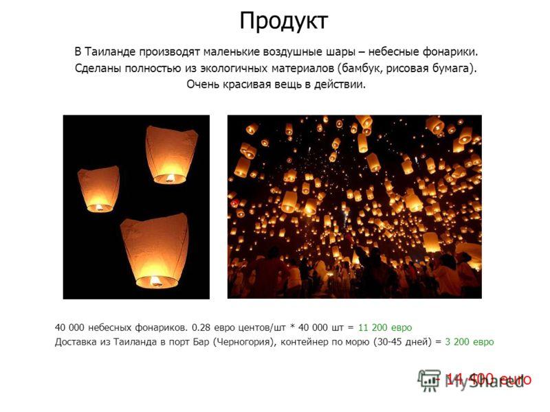 Продукт В Таиланде производят маленькие воздушные шары – небесные фонарики. Сделаны полностью из экологичных материалов (бамбук, рисовая бумага). Очень красивая вещь в действии. 40 000 небесных фонариков. 0.28 евро центов/шт * 40 000 шт = 11 200 евро