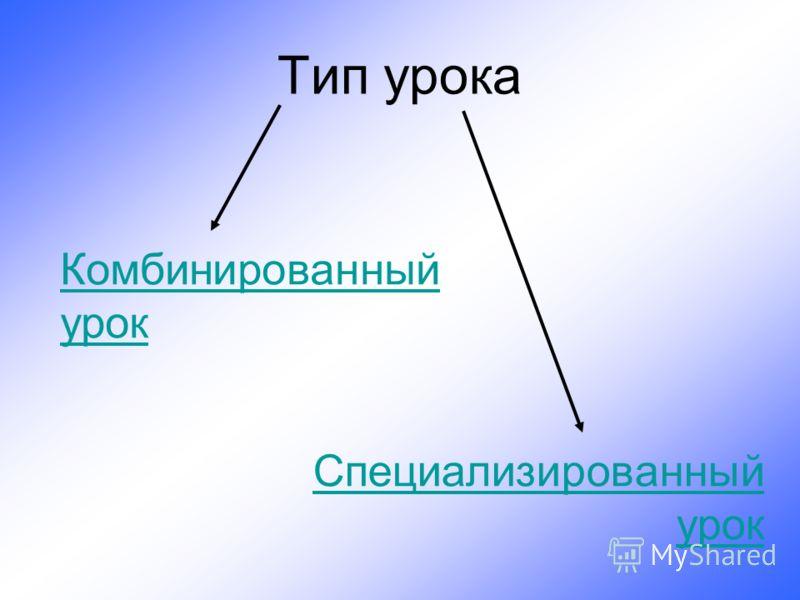 Тип урока Комбинированный урок Специализированный урок