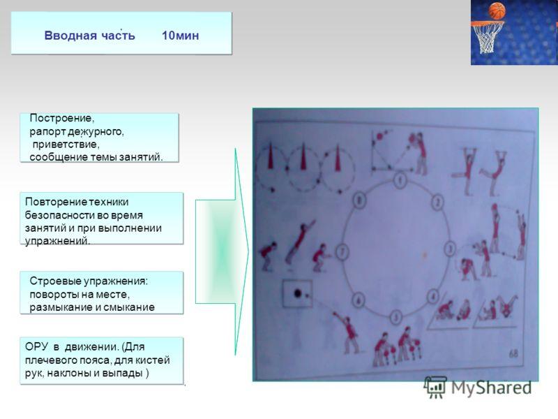 ..... Вводная часть Повторение техники безопасности во время занятий и при выполнении упражнений. Построение, рапорт дежурного, приветствие, сообщение темы занятий. Строевые упражнения: повороты на месте, размыкание и смыкание ОРУ в движении. (Для пл