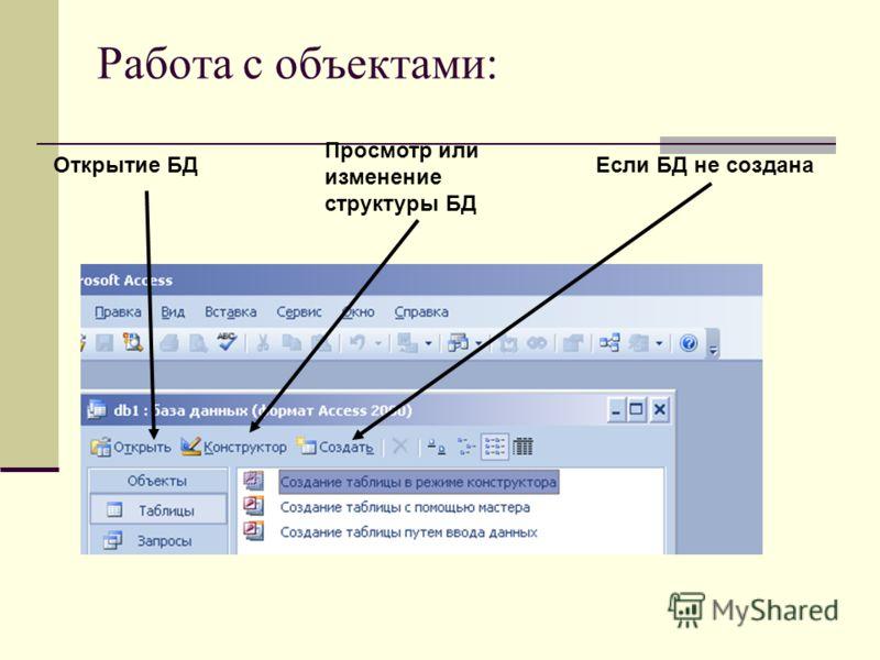 Работа с объектами: Если БД не создана Просмотр или изменение структуры БД Открытие БД