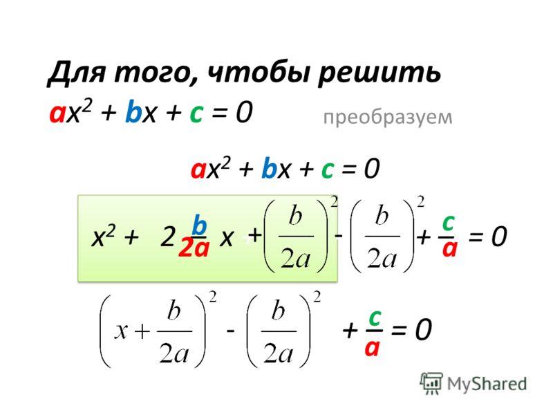 Для того, чтобы решить ах 2 + bx + c = 0 преобразуем ах 2 + bx + c = 0 х 2 + 2 – x + - + – = 0 b а c 2а +- - + – = 0 - c а