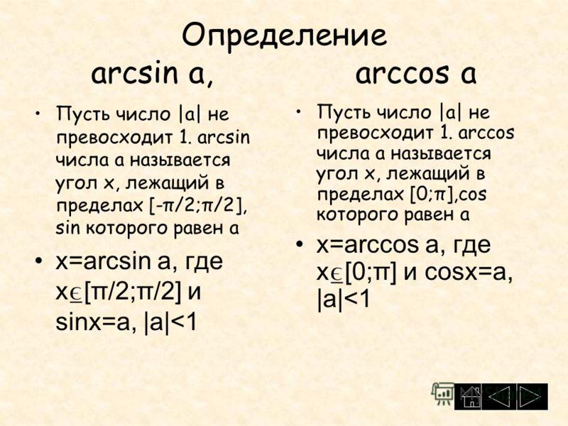 Определение arcsin a, arccos a Пусть число |a| не превосходит 1. arcsin числа а называется угол х, лежащий в пределах [-π/2;π/2], sin которого равен а x=arcsin a, где x [π/2;π/2] и sinx=a, |a|