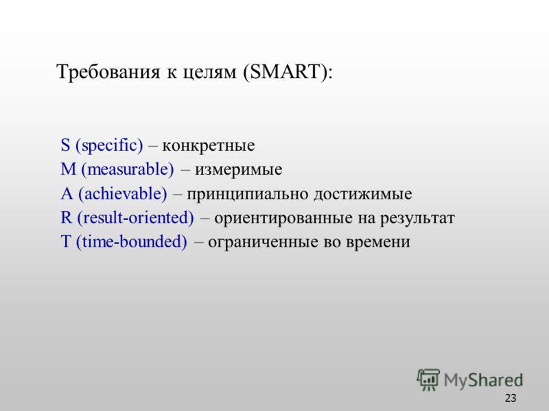 23 S (specific) – конкретные M (measurable) – измеримые A (achievable) – принципиально достижимые R (result-oriented) – ориентированные на результат T (time-bounded) – ограниченные во времени Требования к целям (SMART):