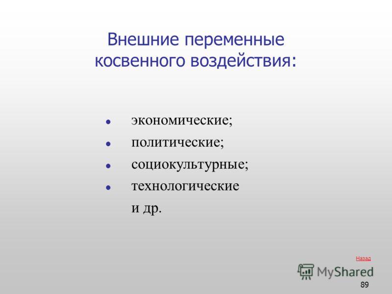 89 Внешние переменные косвенного воздействия: экономические; политические; социокультурные; технологические и др. Назад