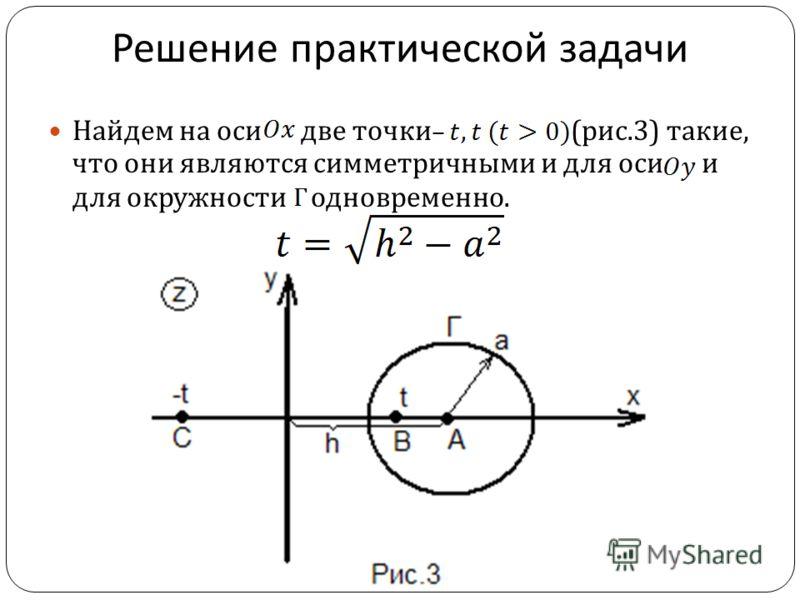 Решение практической задачи Найдем на оси две точки ( рис.3) такие, что они являются симметричными и для оси и для окружности одновременно.