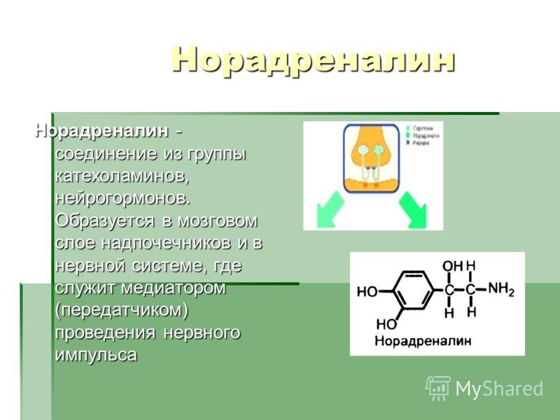 Норадреналин Норадреналин - соединение из группы катехоламинов, нейрогормонов. Образуется в мозговом слое надпочечников и в нервной системе, где служит медиатором (передатчиком) проведения нервного импульса