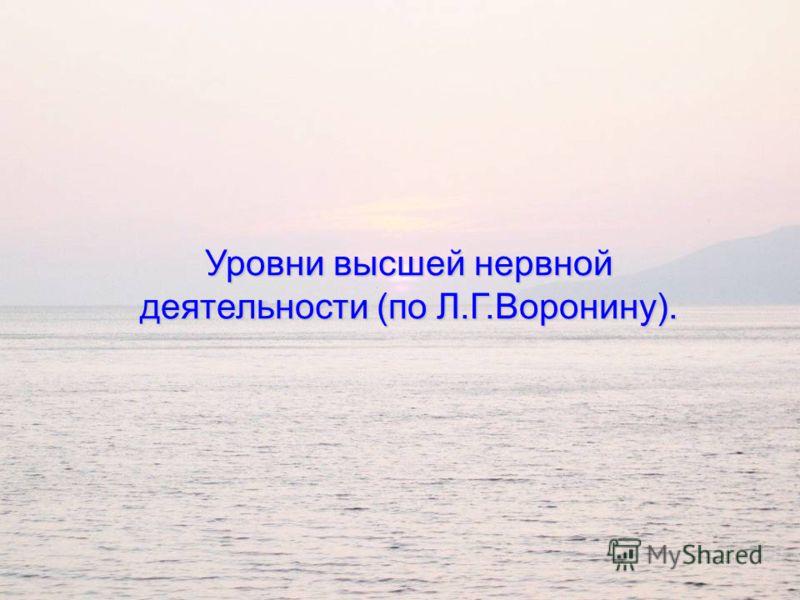 Уровни высшей нервной деятельности (по Л.Г.Воронину).