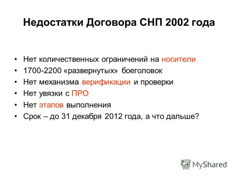 Недостатки Договора СНП 2002 года Нет количественных ограничений на носители 1700-2200 «развернутых» боеголовок Нет механизма верификации и проверки Нет увязки с ПРО Нет этапов выполнения Срок – до 31 декабря 2012 года, а что дальше?