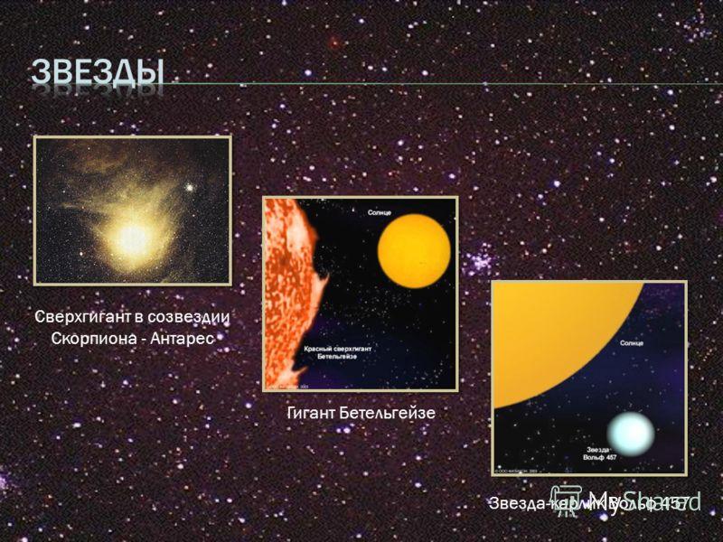 Сверхгигант в созвездии Скорпиона - Антарес Гигант Бетельгейзе Звезда-карлик Вольф 457
