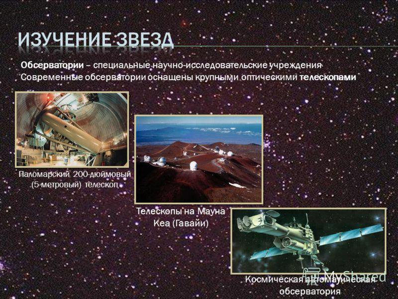 Телескопы на Мауна Кеа (Гавайи) Паломарский 200-дюймовый (5-метровый) телескоп Космическая автоматическая обсерватория Обсерватории – специальные научно-исследовательские учреждения Современные обсерватории оснащены крупными оптическими телескопами