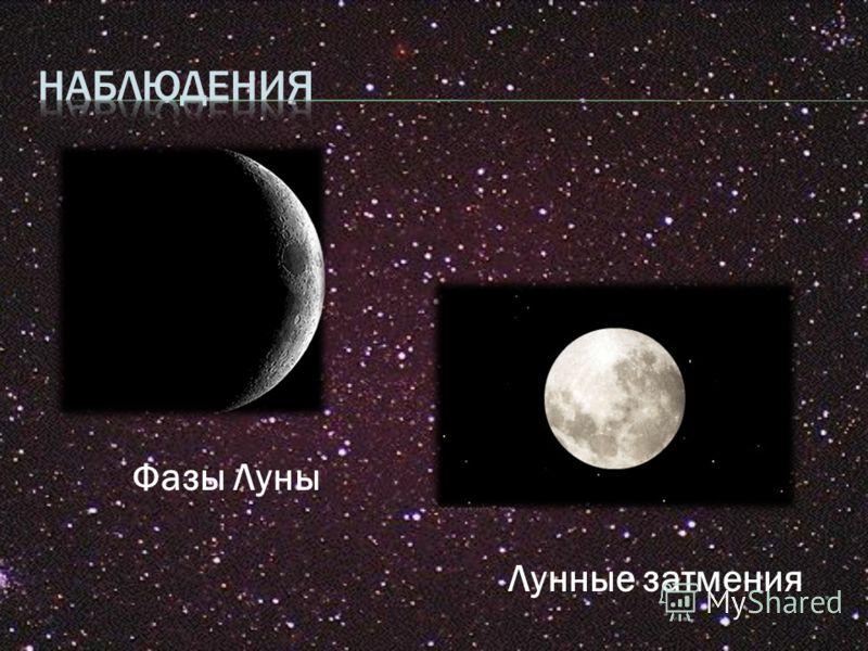 Фазы Луны Лунные затмения