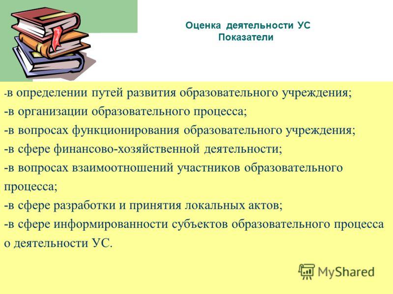 Оценка деятельности УС Показатели - в определении путей развития образовательного учреждения; -в организации образовательного процесса; -в вопросах функционирования образовательного учреждения; -в сфере финансово-хозяйственной деятельности; -в вопрос