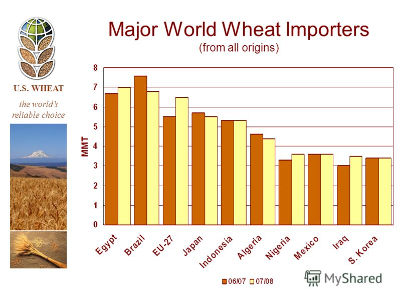 U.S. WHEAT the worlds reliable choice Major World Wheat Importers (from all origins)