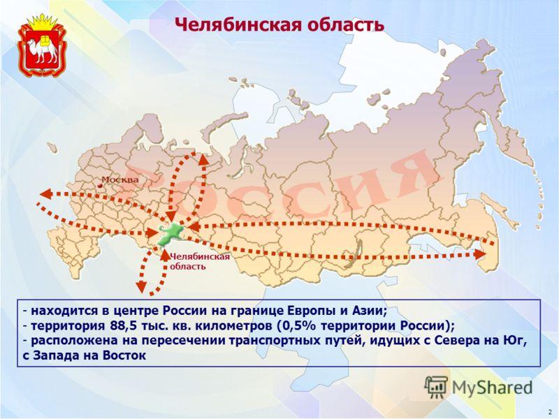 Челябинская область - находится в центре России на границе Европы и Азии; - территория 88,5 тыс. кв. километров (0,5% территории России); - расположена на пересечении транспортных путей, идущих с Севера на Юг, с Запада на Восток 2