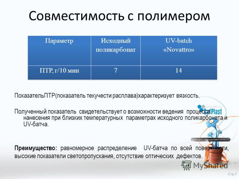 Совместимость с полимером ПоказательПТР(показатель текучести расплава)характеризует вязкость. Полученный показатель свидетельствует о возможности ведения процесса нанесения при близких температурных параметрах исходного поликарбоната и UV-батча. Преи