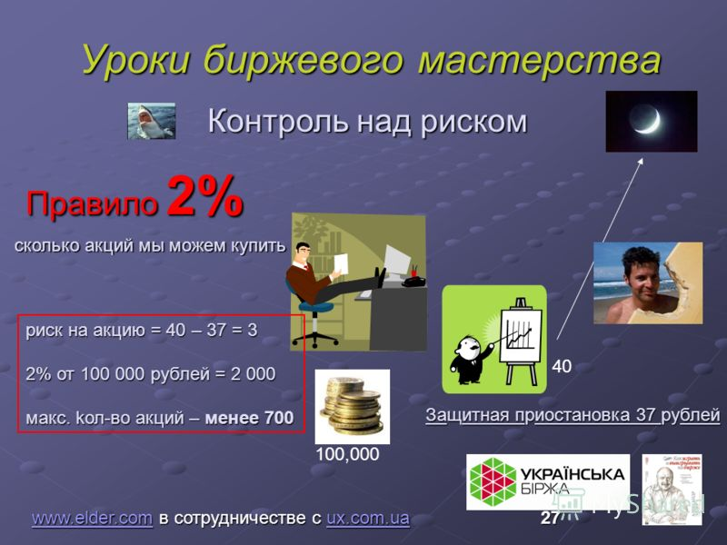 Уроки биржевого мастерства www.elder.comwww.elder.com в сотрудничестве с ux.com.ua 27 ux.com.ua www.elder.comux.com.ua Правило 2% Контроль над риском 100,000 40 Защитная приостановка 37 рублей сколько акций мы можем купить риск на акцию = 40 – 37 = 3