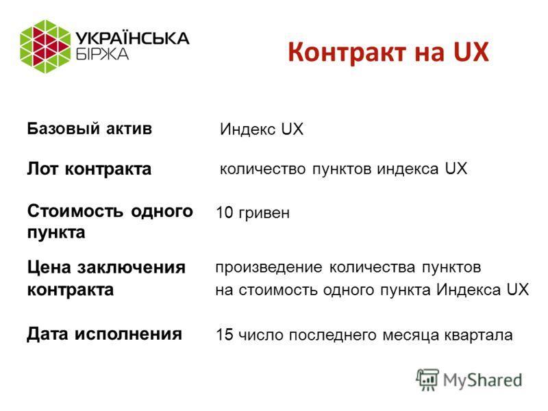 Контракт на UX Базовый актив Дата исполнения произведение количества пунктов на стоимость одного пункта Индекса UX Стоимость одного пункта количество пунктов индекса UX Индекс UX Лот контракта 10 гривен Цена заключения контракта 15 число последнего м