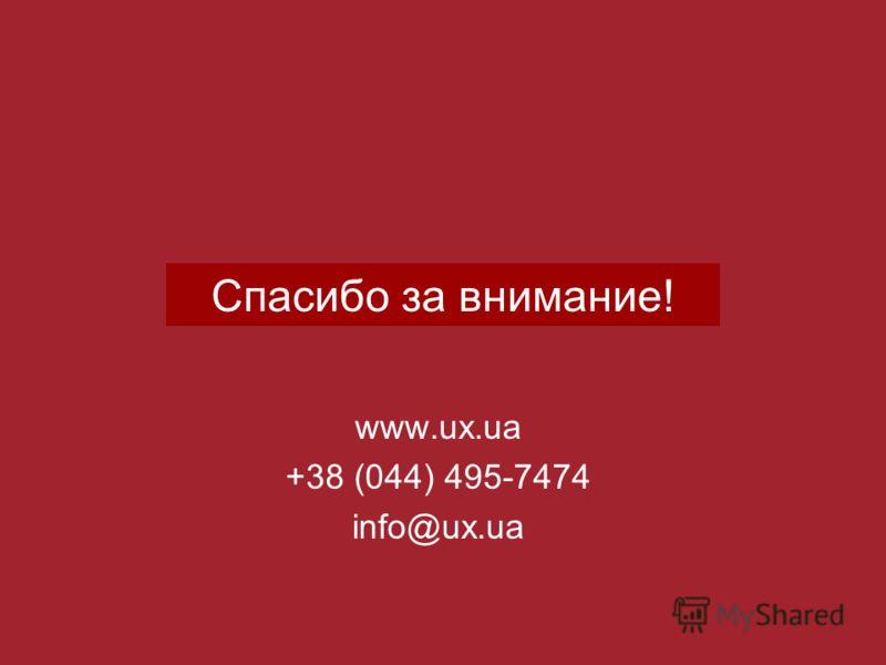 Спасибо за внимание! www.ux.ua +38 (044) 495-7474 info@ux.ua