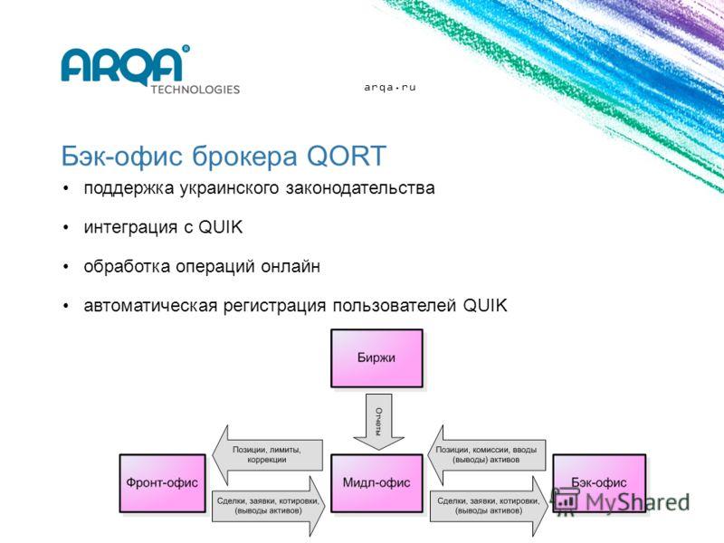 arqa.ru Бэк-офис брокера QORT поддержка украинского законодательства интеграция с QUIK обработка операций онлайн автоматическая регистрация пользователей QUIK