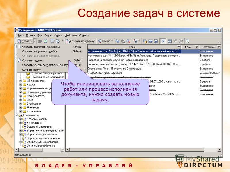 Создание задач в системе В Л А Д Е Я - У П Р А В Л Я Й Чтобы инициировать выполнение работ или процесс исполнения документа, нужно создать новую задачу.