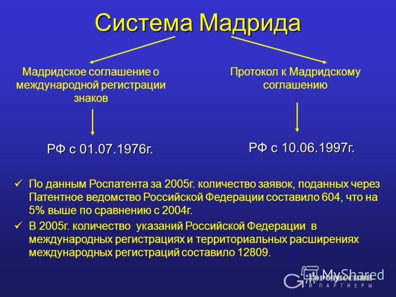 Система Мадрида Мадридское соглашение о международной регистрации знаков Протокол к Мадридскому соглашению РФ с 10.06.1997г. РФ с 01.07.1976г. По данным Роспатента за 2005г. количество заявок, поданных через Патентное ведомство Российской Федерации с