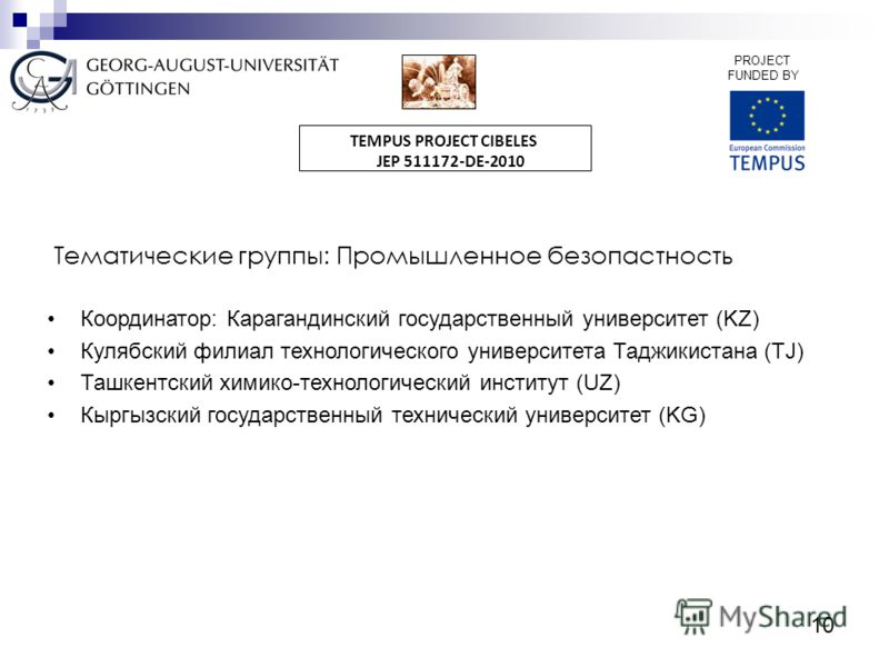 10 PROJECT FUNDED BY TEMPUS PROJECT CIBELES JEP 511172-DE-2010 Тематические группы: Промышленное безопастность Координатор: Карагандинский государственный университет (KZ) Кулябский филиал технологического университета Таджикистана (TJ) Ташкентский х