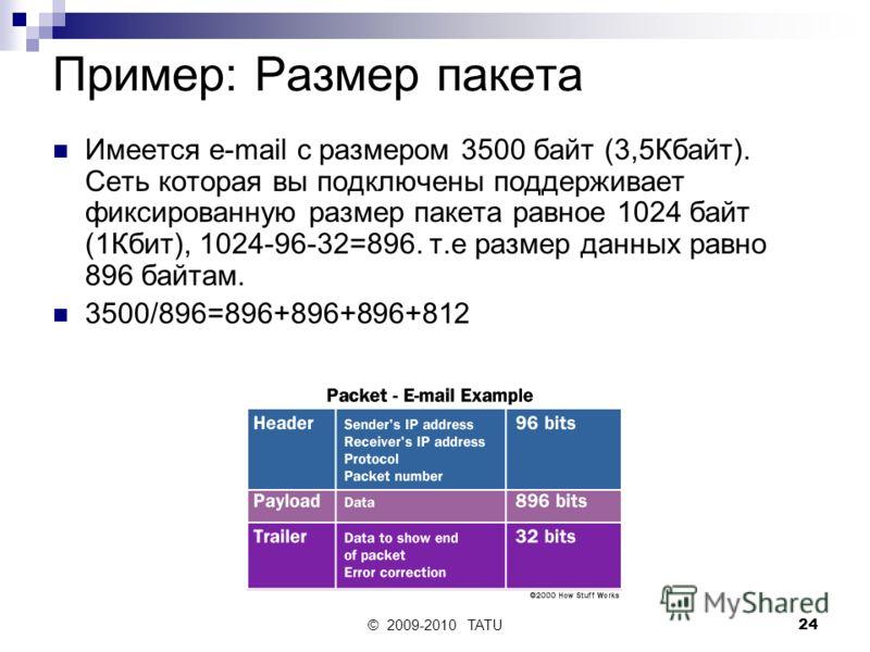 © 2009-2010 TATU24 Пример: Размер пакета Имеется e-mail с размером 3500 байт (3,5Кбайт). Сеть которая вы подключены поддерживает фиксированную размер пакета равное 1024 байт (1Кбит), 1024-96-32=896. т.е размер данных равно 896 байтам. 3500/896=896+89