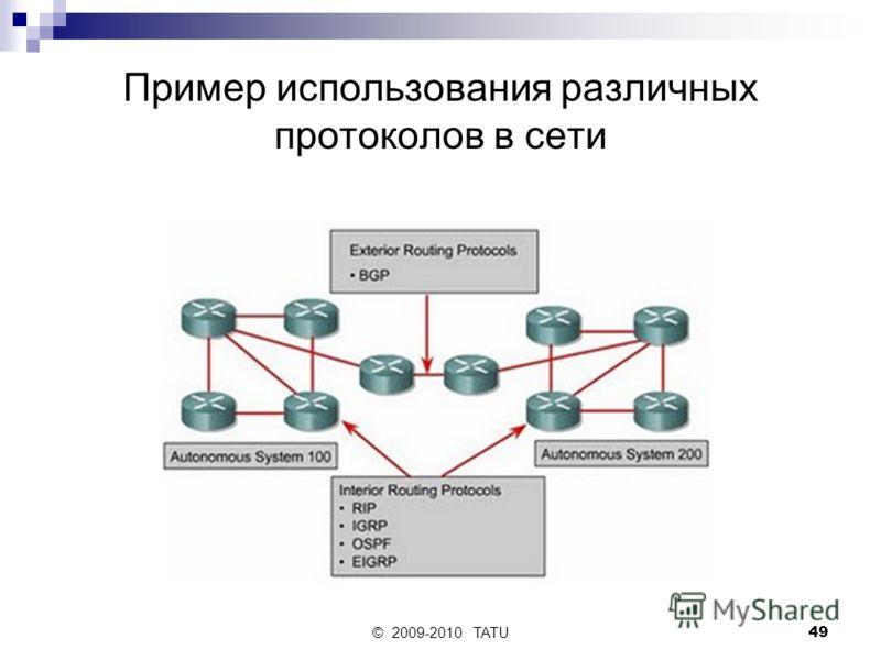 © 2009-2010 TATU49 Пример использования различных протоколов в сети
