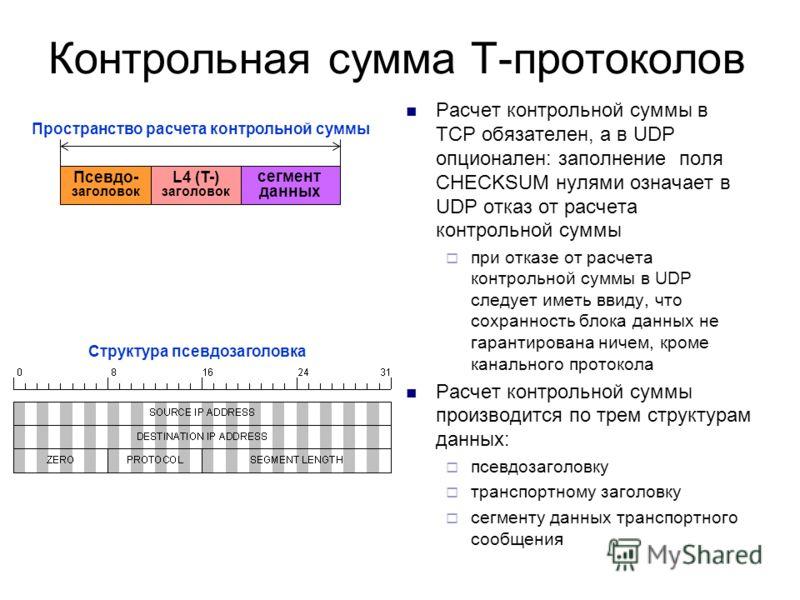 Контрольная сумма Т-протоколов Расчет контрольной суммы в TCP обязателен, а в UDP опционален: заполнение поля СHECKSUM нулями означает в UDP отказ от расчета контрольной суммы при отказе от расчета контрольной суммы в UDP следует иметь ввиду, что сох