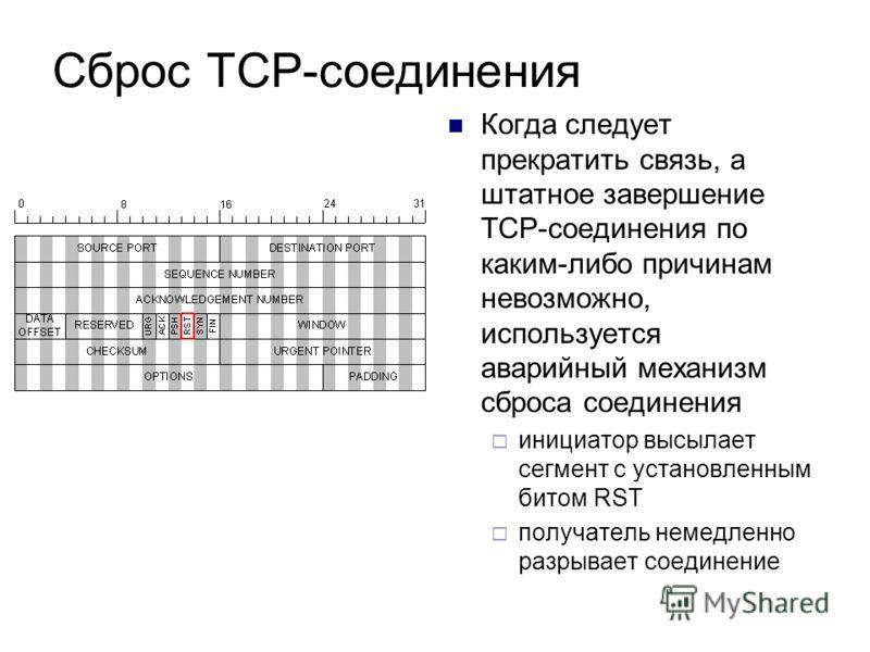 Сброс ТСР-соединения Когда следует прекратить связь, а штатное завершение ТСР-соединения по каким-либо причинам невозможно, используется аварийный механизм сброса соединения инициатор высылает сегмент с установленным битом RST получатель немедленно р