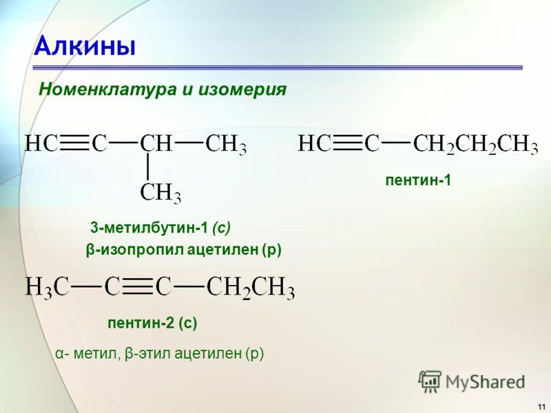 11 Алкины Номенклатура и изомерия 3-метилбутин-1 (с) пентин-1 пентин-2 (с) β-изопропил ацетилен (р) α- метил, β-этил ацетилен (р)