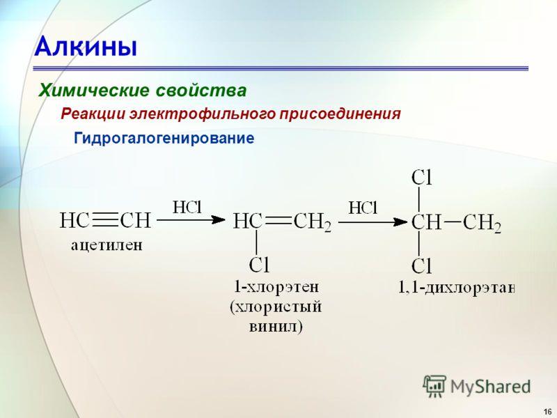 16 Алкины Химические свойства Гидрогалогенирование Реакции электрофильного присоединения