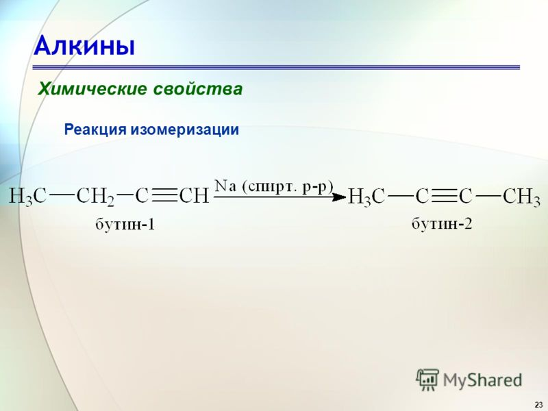 23 Алкины Химические свойства Реакция изомеризации