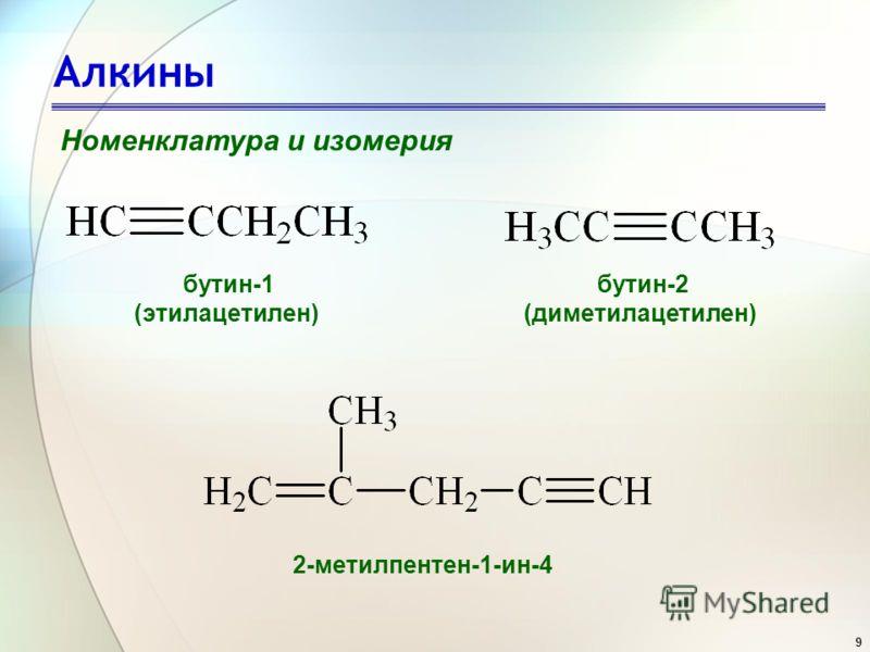 9 Алкины Номенклатура и изомерия бутин-1 (этилацетилен) бутин-2 (диметилацетилен) 2-метилпентен-1-ин-4