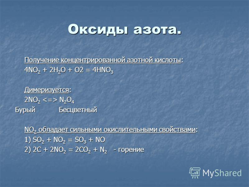 Оксиды азота. Получение концентрированной азотной кислоты: 4NO 2 + 2H 2 O + O2 = 4HNO 3 Димеризуется: 2NO 2 N 2 O 4 Бурый Бесцветный NO 2 обладает сильными окислительными свойствами: 1) SO 2 + NO 2 = SO 3 + NO 2) 2C + 2NO 2 = 2CO 2 + N 2 - горение