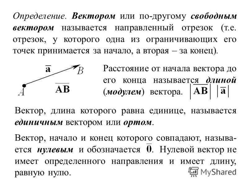 Определение. Вектором или по-другому свободным вектором называется направленный отрезок (т.е. отрезок, у которого одна из ограничивающих его точек принимается за начало, а вторая – за конец). Расстояние от начала вектора до его конца называется длино