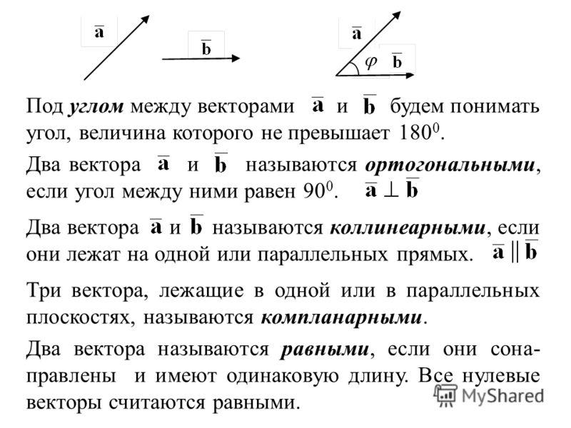 Под углом между векторами и будем понимать угол, величина которого не превышает 180 0. Два вектора и называются ортогональными, если угол между ними равен 90 0. Два вектора и называются коллинеарными, если они лежат на одной или параллельных прямых.